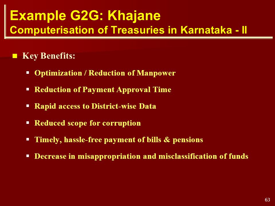 Example G2G: Khajane Computerisation of Treasuries in Karnataka - II