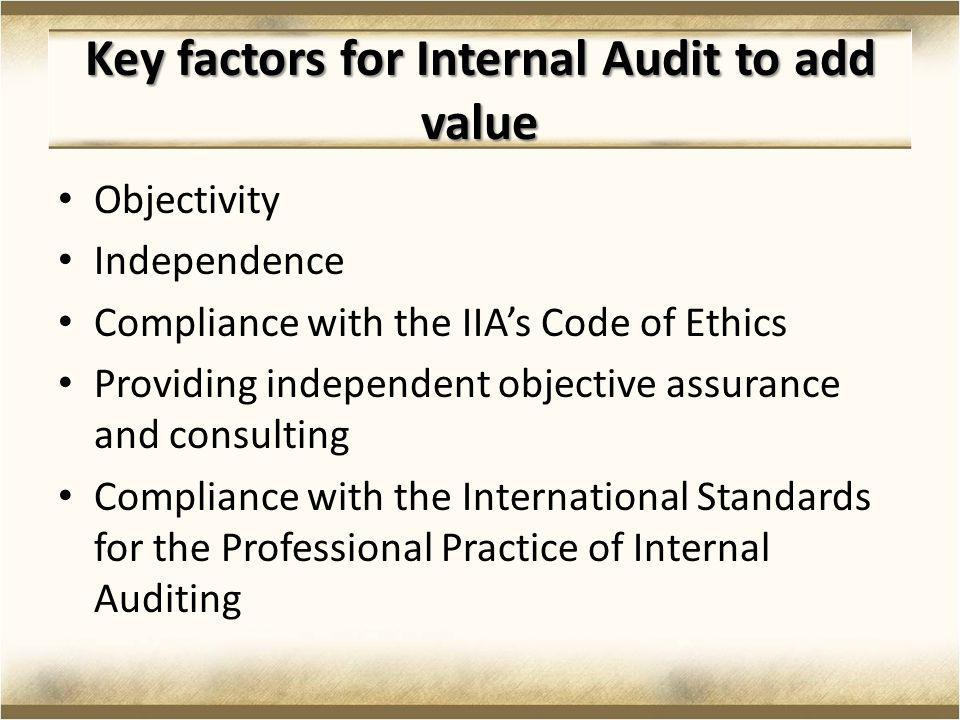 Key factors for Internal Audit to add value