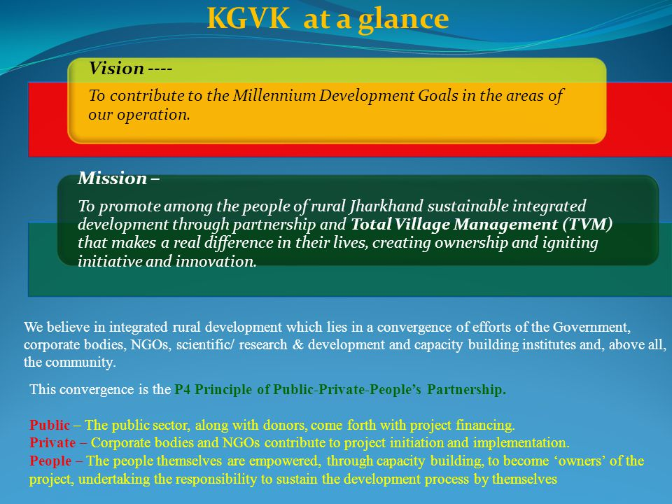 KGVK at a glance Mission – Vision ----