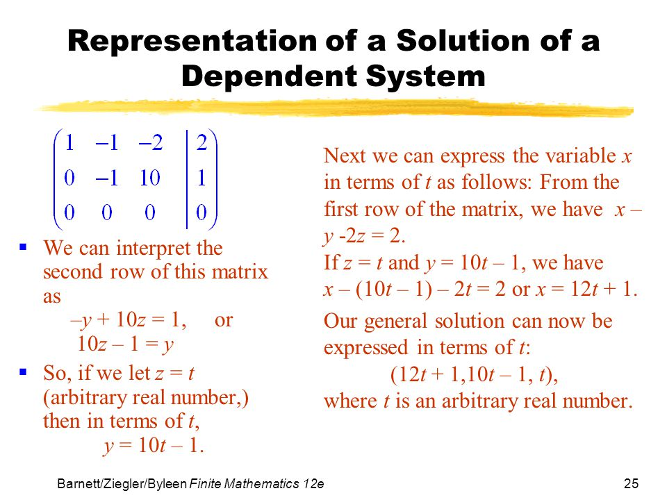 Representation of a Solution of a Dependent System