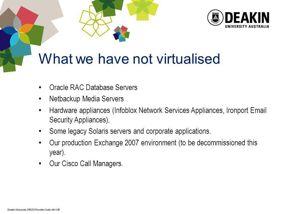 What we have not virtualised