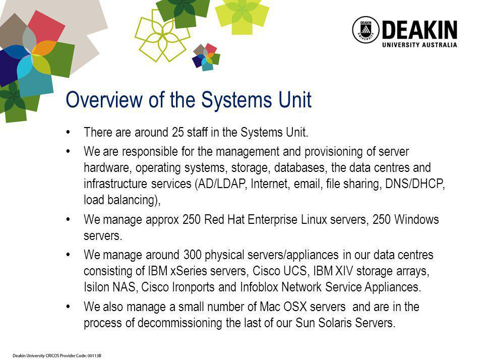 Overview of the Systems Unit
