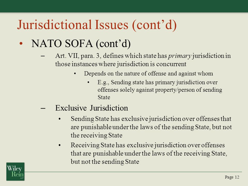 Jurisdictional Issues (cont'd)