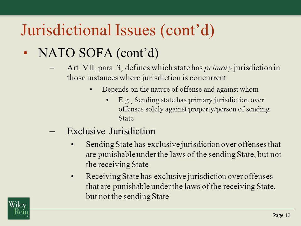 Jurisdictional Issues (cont'd)