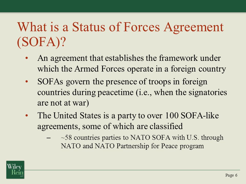 What is a Status of Forces Agreement (SOFA)