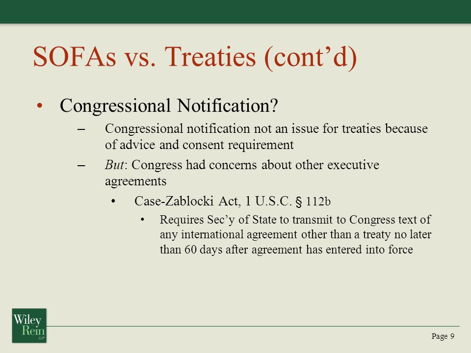 SOFAs vs. Treaties (cont'd)