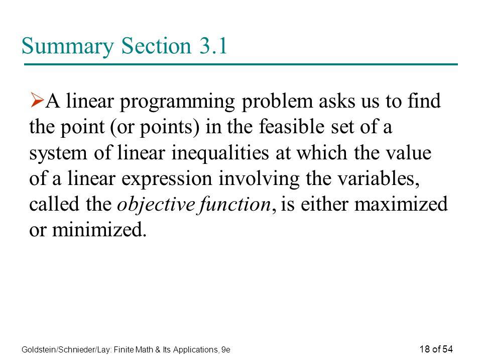 Summary Section 3.1