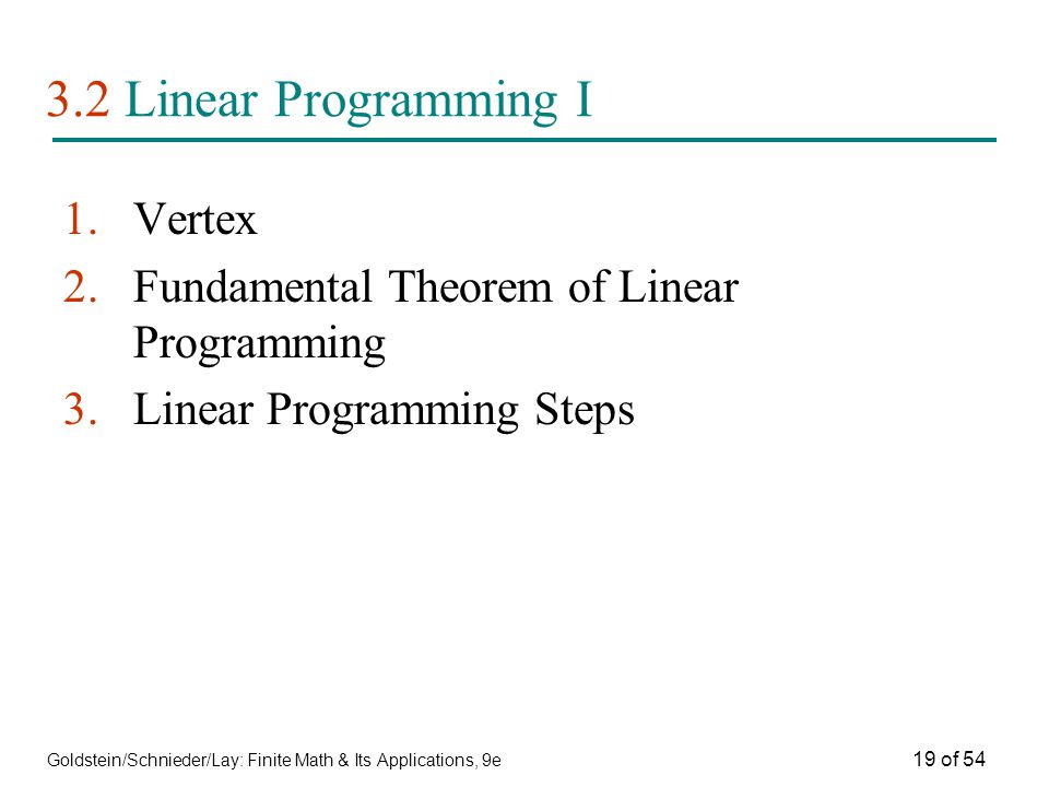3.2 Linear Programming I Vertex
