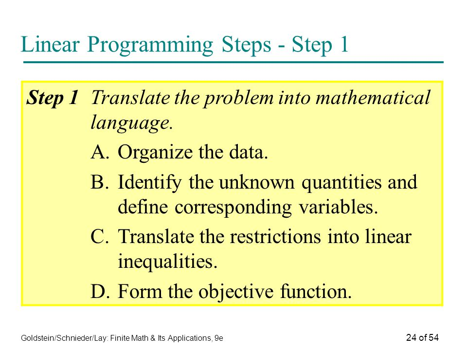 Linear Programming Steps - Step 1