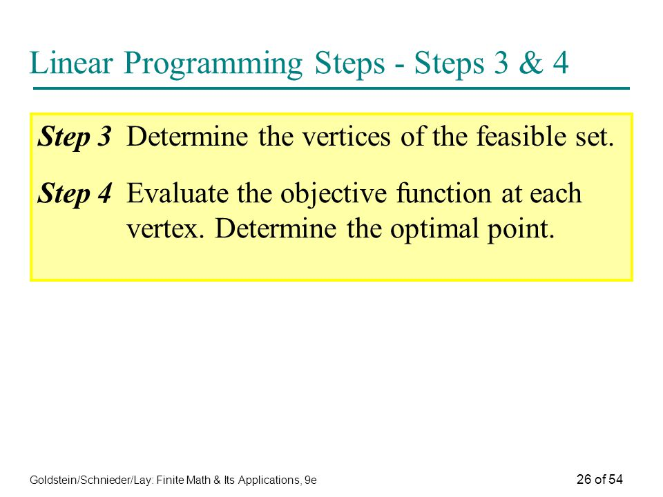 Linear Programming Steps - Steps 3 & 4