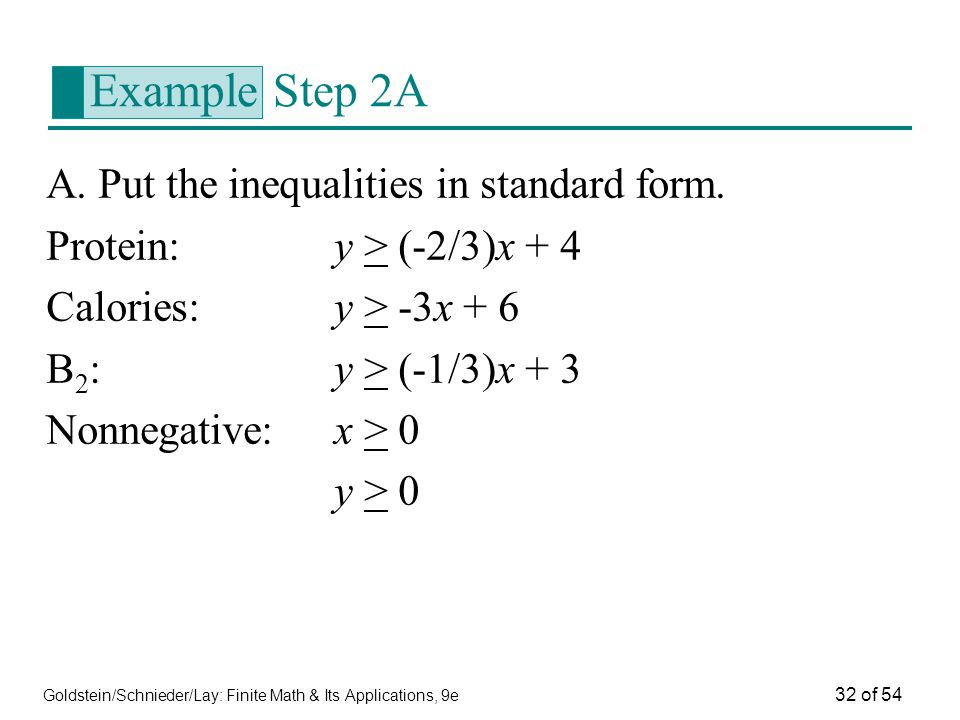 Example Step 2A A. Put the inequalities in standard form.