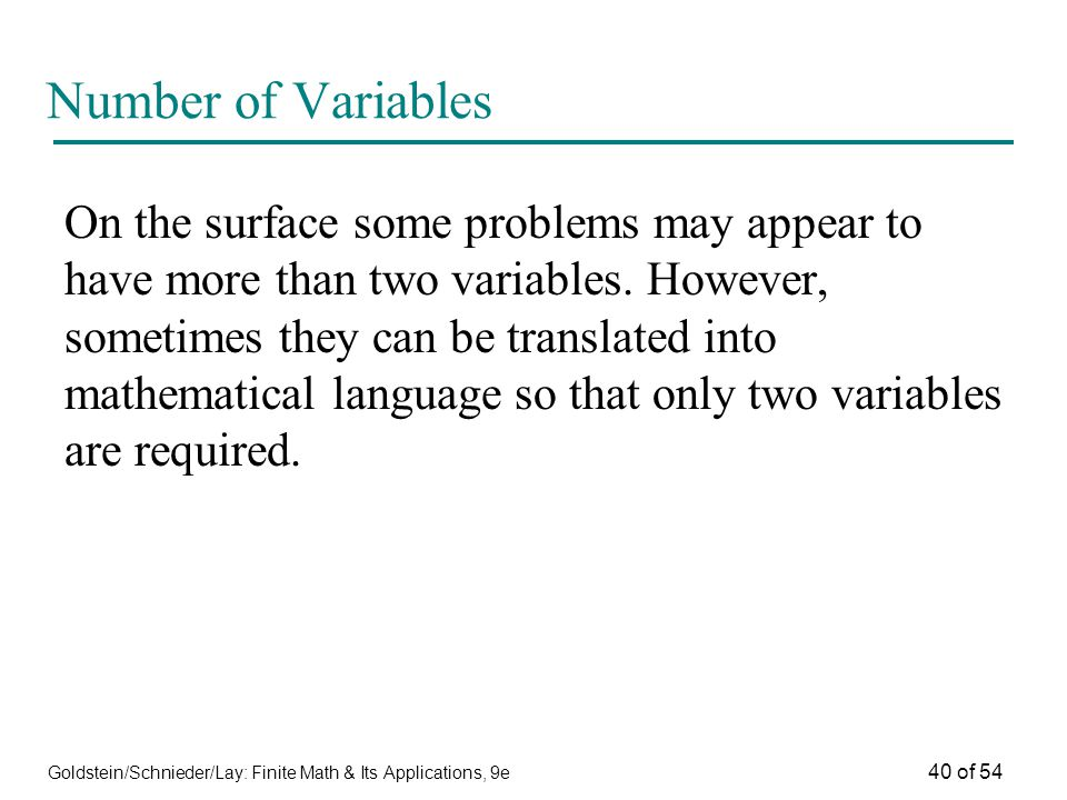 Number of Variables