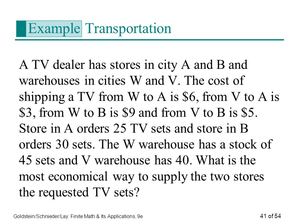 Example Transportation
