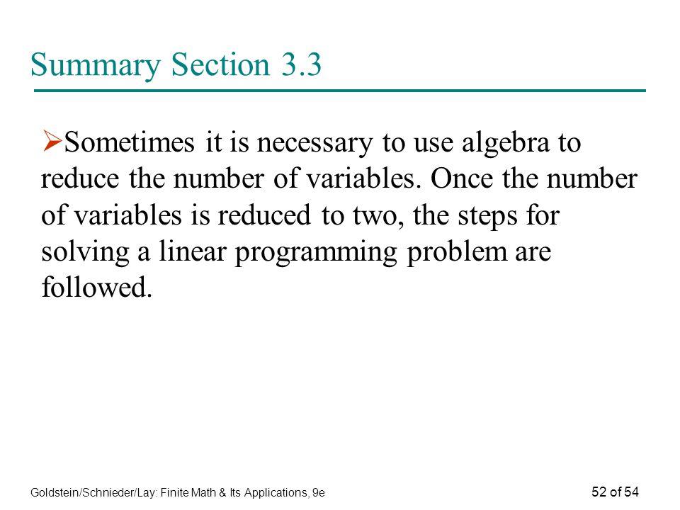 Summary Section 3.3