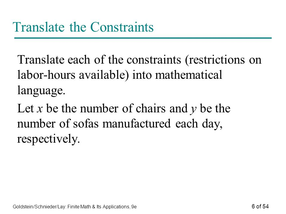 Translate the Constraints