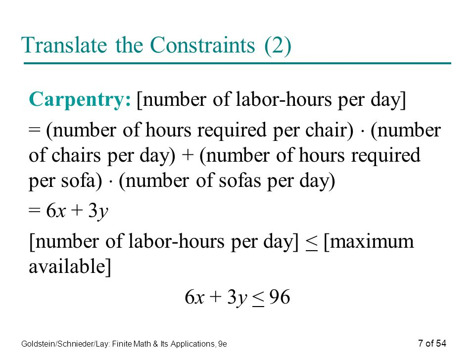 Translate the Constraints (2)