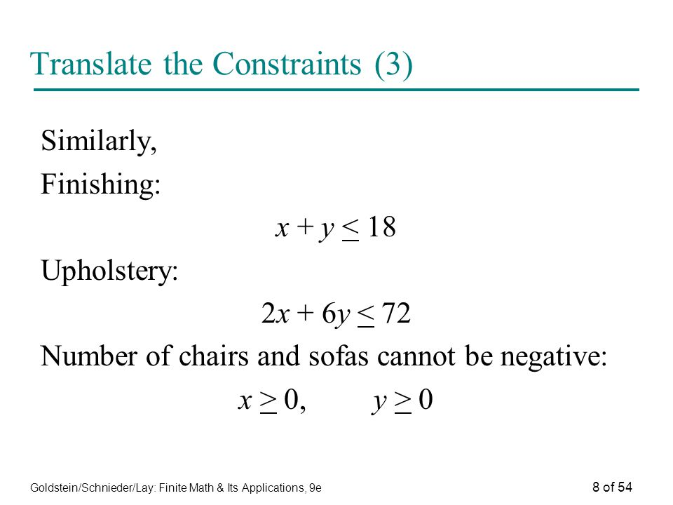 Translate the Constraints (3)