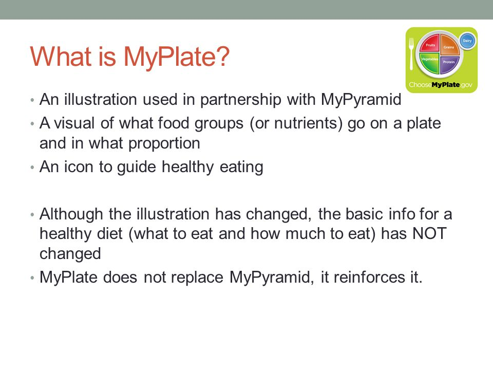 What is MyPlate An illustration used in partnership with MyPyramid