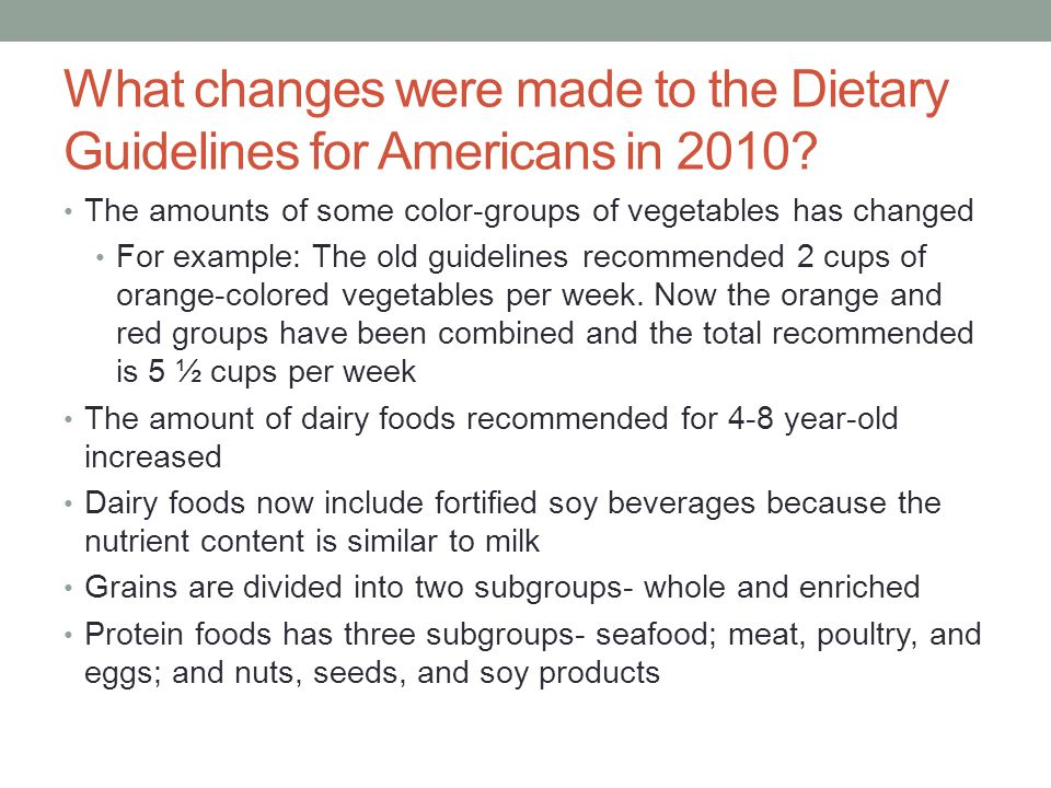 What changes were made to the Dietary Guidelines for Americans in 2010