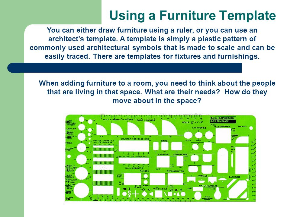Using a Furniture Template