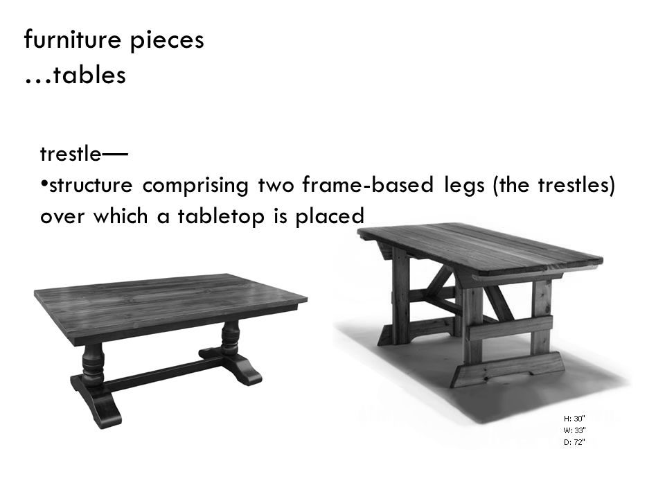 furniture pieces …tables trestle—