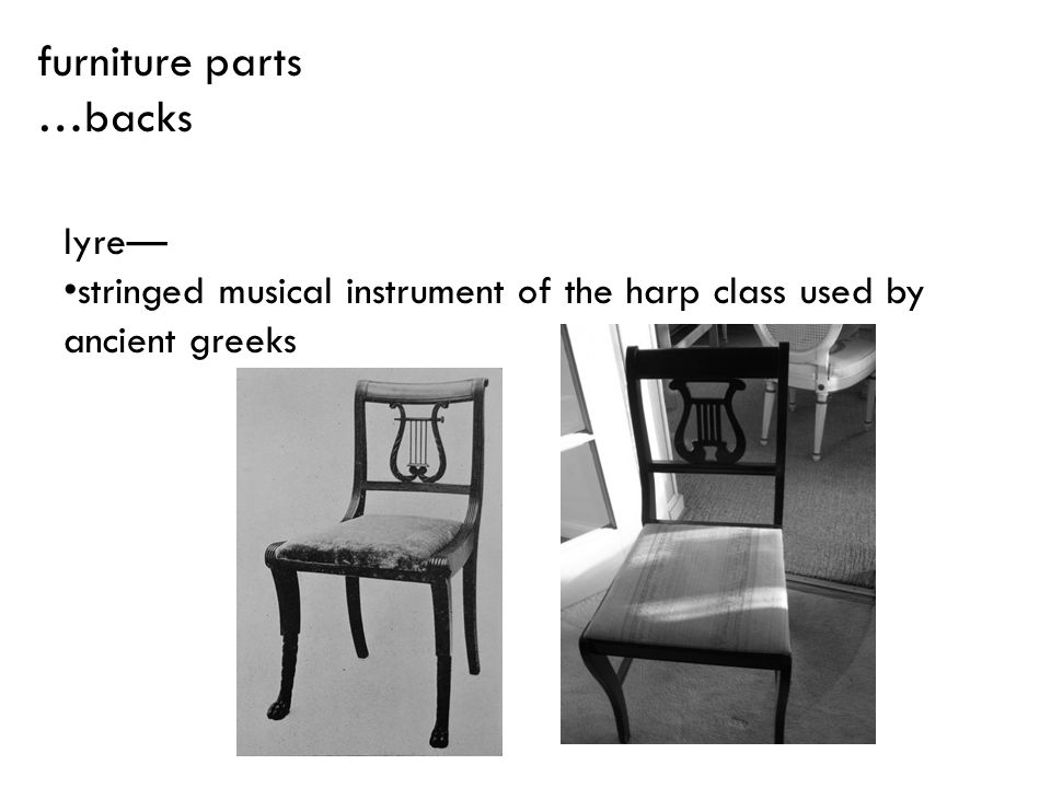 furniture parts …backs lyre—