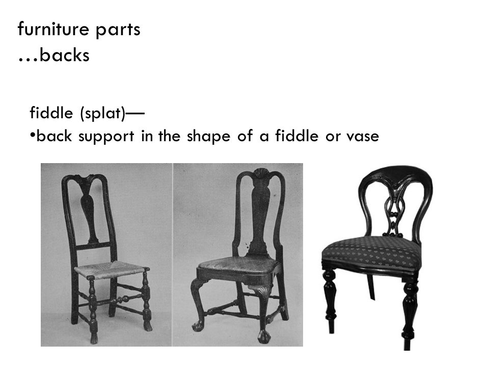 furniture parts …backs fiddle (splat)—