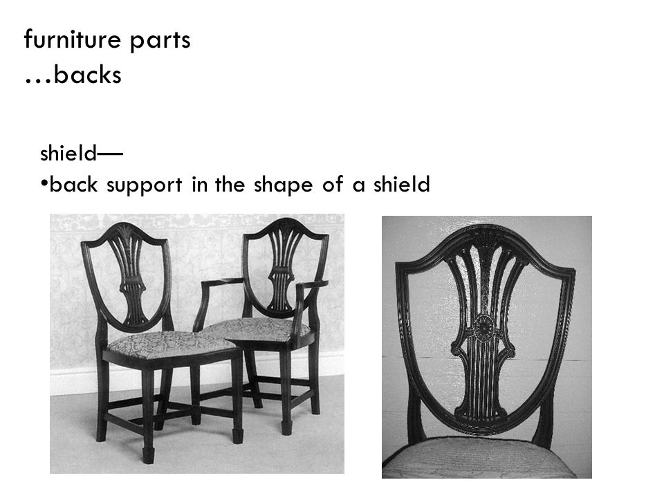 furniture parts …backs shield— back support in the shape of a shield