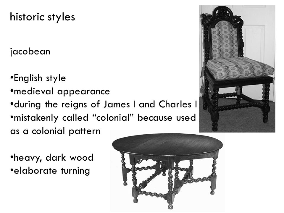 historic styles jacobean English style medieval appearance