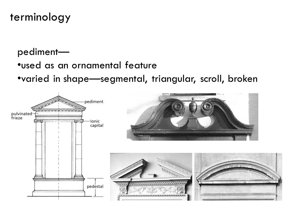 terminology pediment— used as an ornamental feature