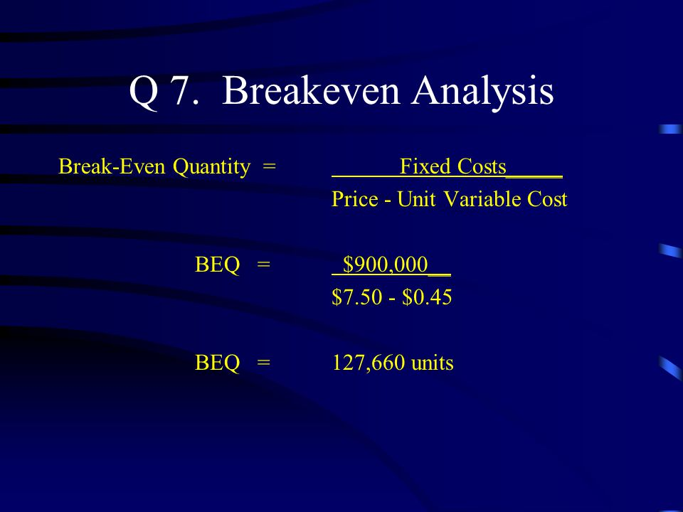Q 7. Breakeven Analysis Break-Even Quantity = Fixed Costs_____