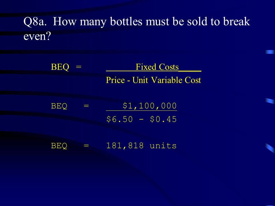 Q8a. How many bottles must be sold to break even