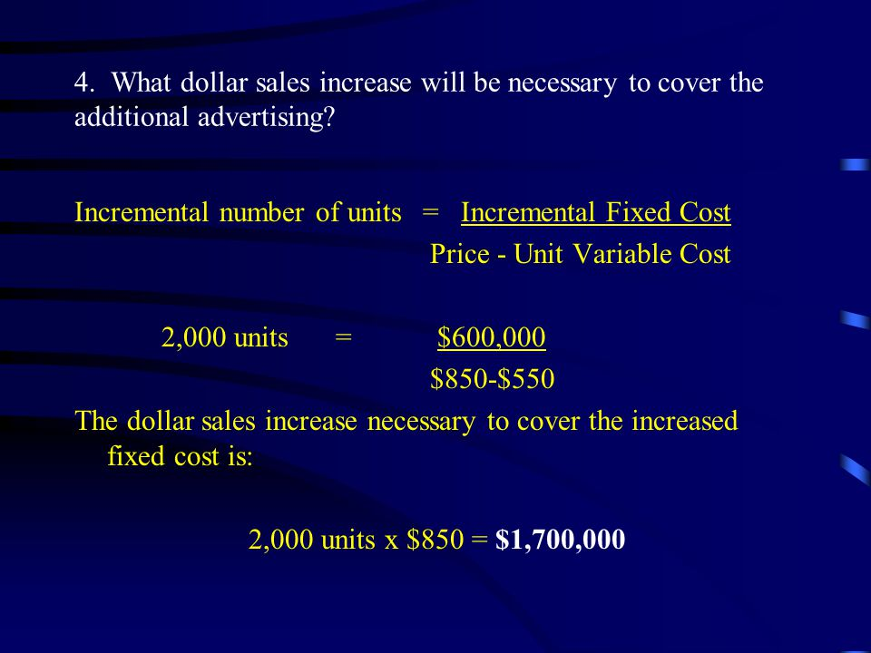 4. What dollar sales increase will be necessary to cover the additional advertising
