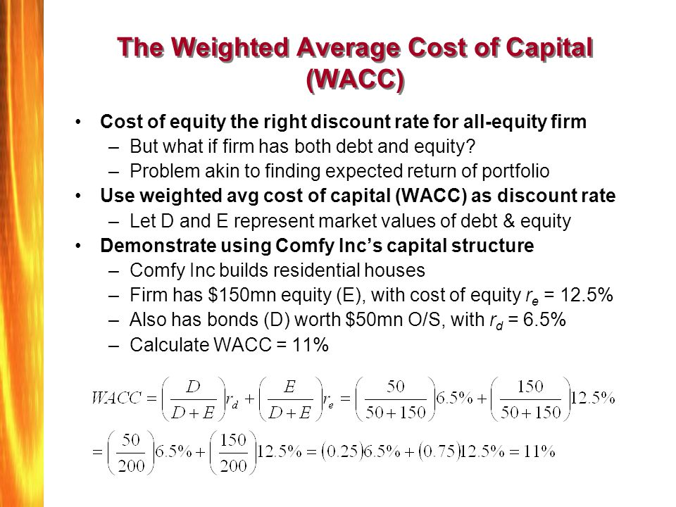 The Weighted Average Cost of Capital (WACC)
