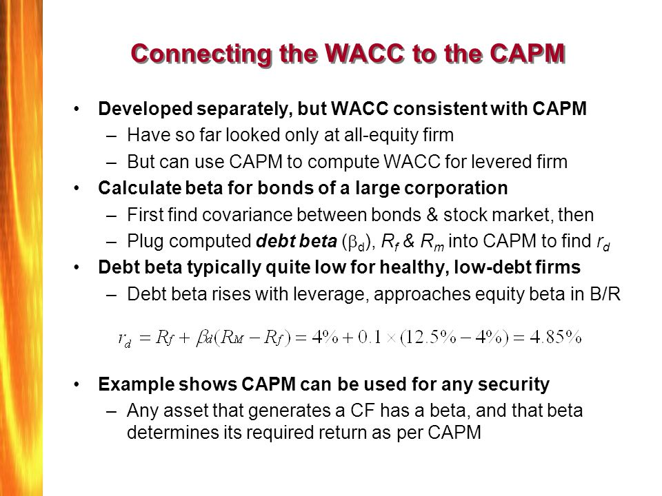 Connecting the WACC to the CAPM