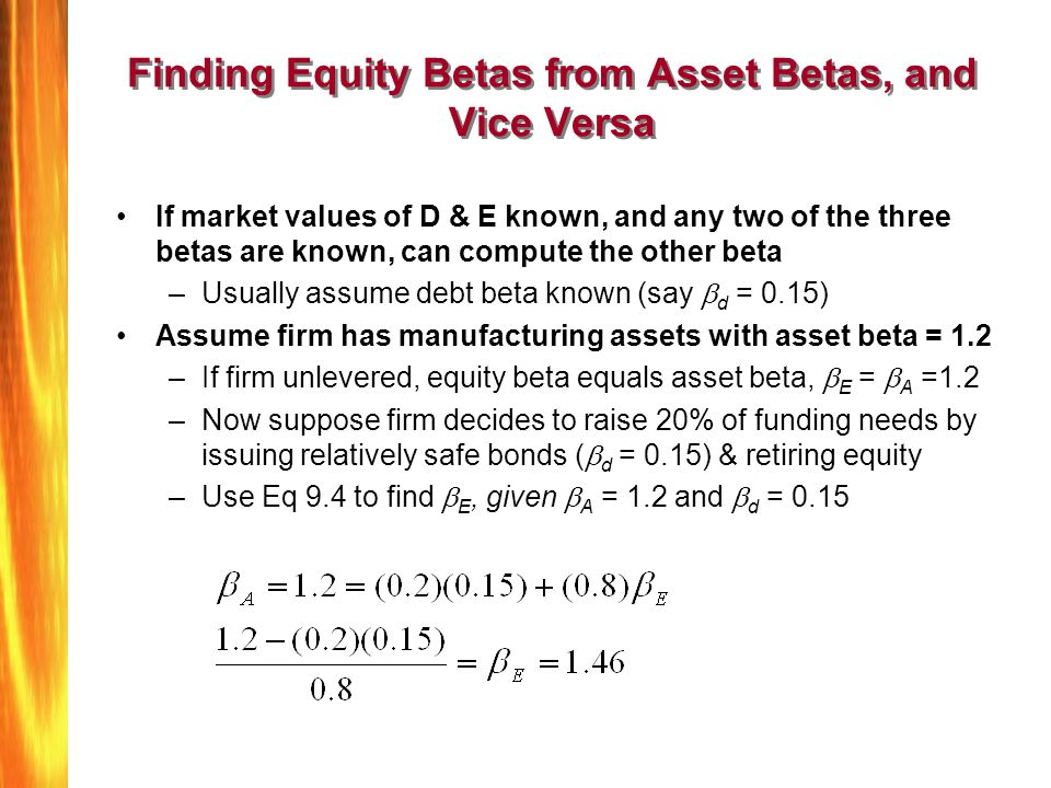 Finding Equity Betas from Asset Betas, and Vice Versa