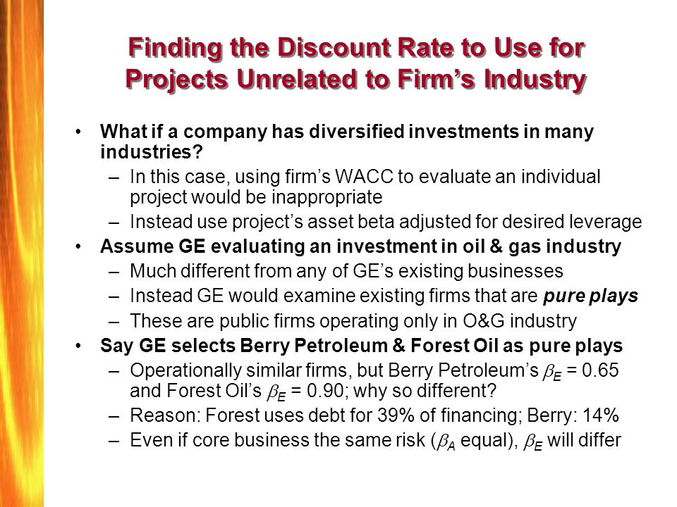 Finding the Discount Rate to Use for Projects Unrelated to Firm's Industry
