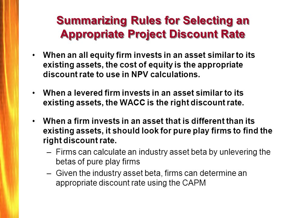 Summarizing Rules for Selecting an Appropriate Project Discount Rate