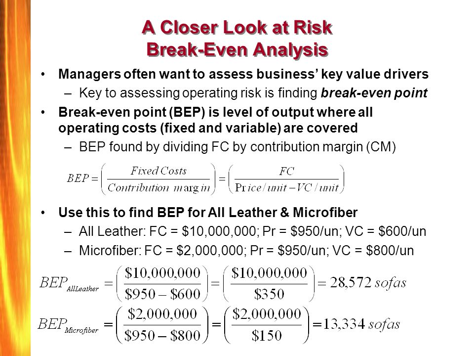 A Closer Look at Risk Break-Even Analysis