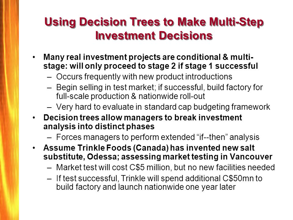 Using Decision Trees to Make Multi-Step Investment Decisions