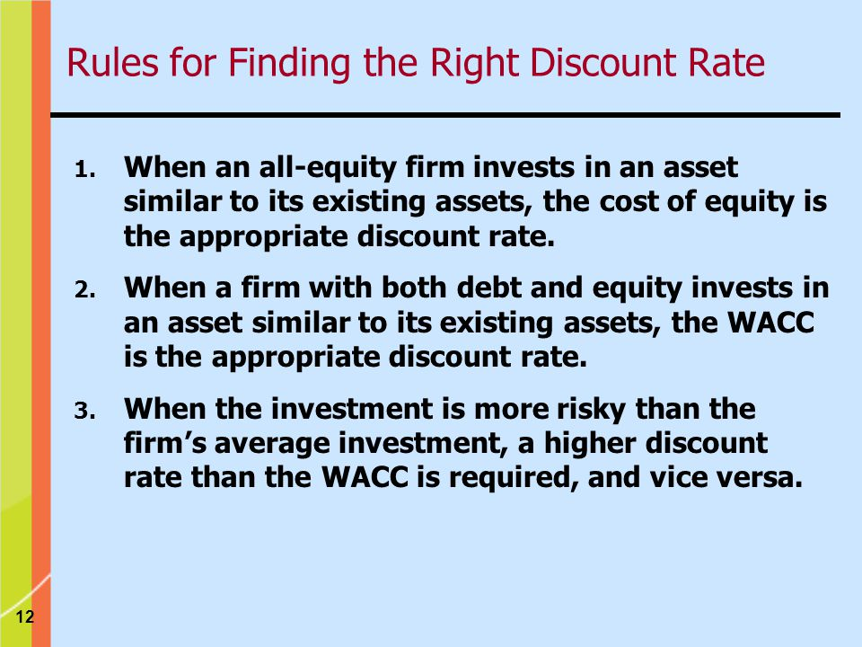 Rules for Finding the Right Discount Rate