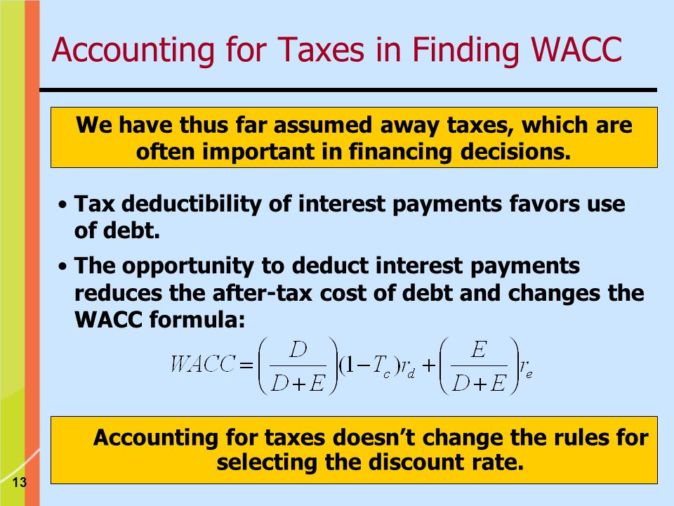 Accounting for Taxes in Finding WACC