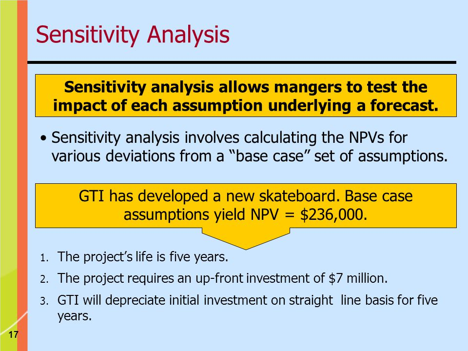 Sensitivity Analysis Sensitivity analysis allows mangers to test the impact of each assumption underlying a forecast.