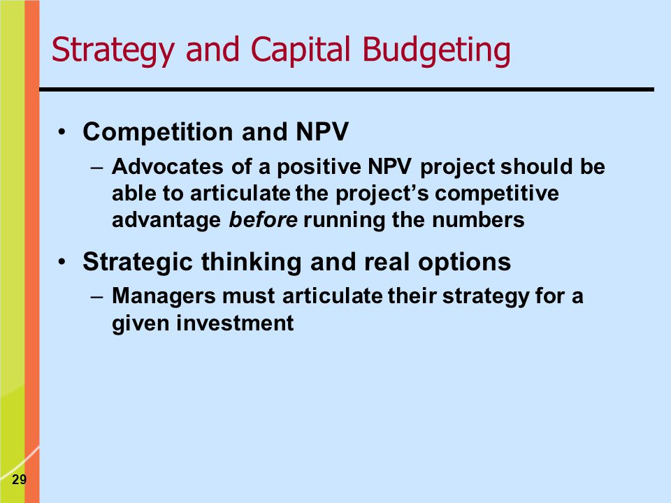Strategy and Capital Budgeting