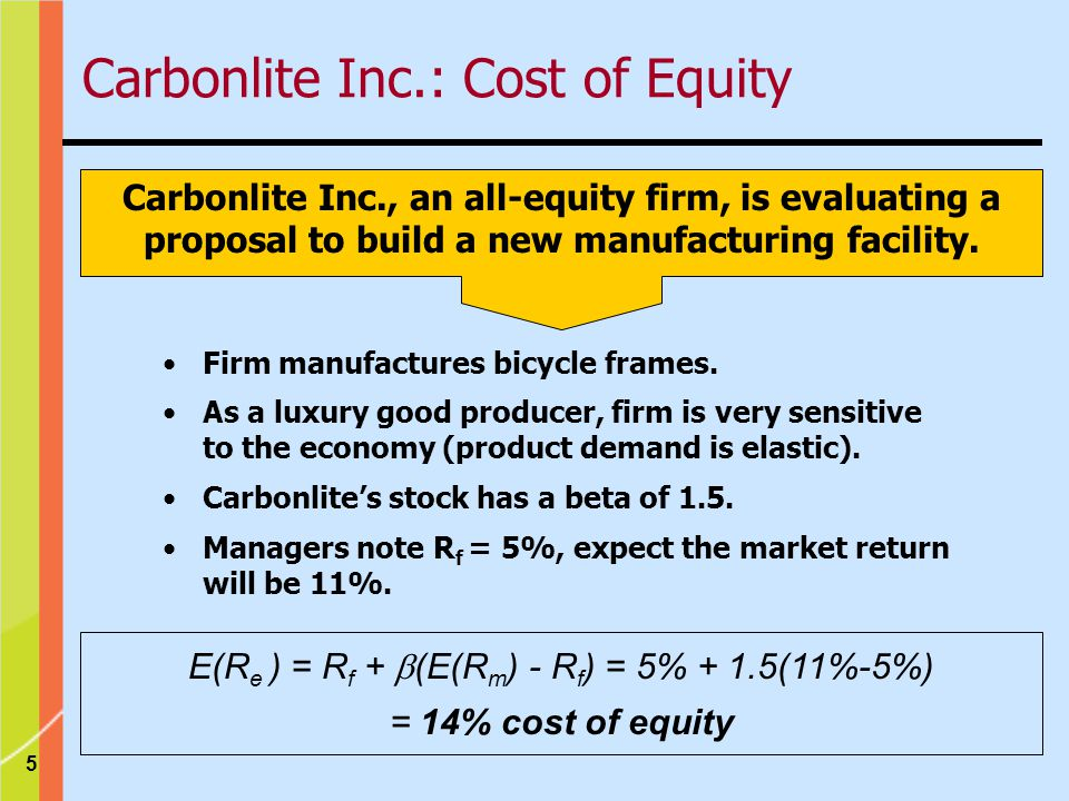 Carbonlite Inc.: Cost of Equity