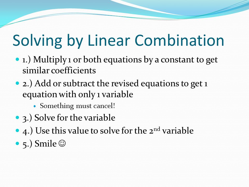 Solving by Linear Combination