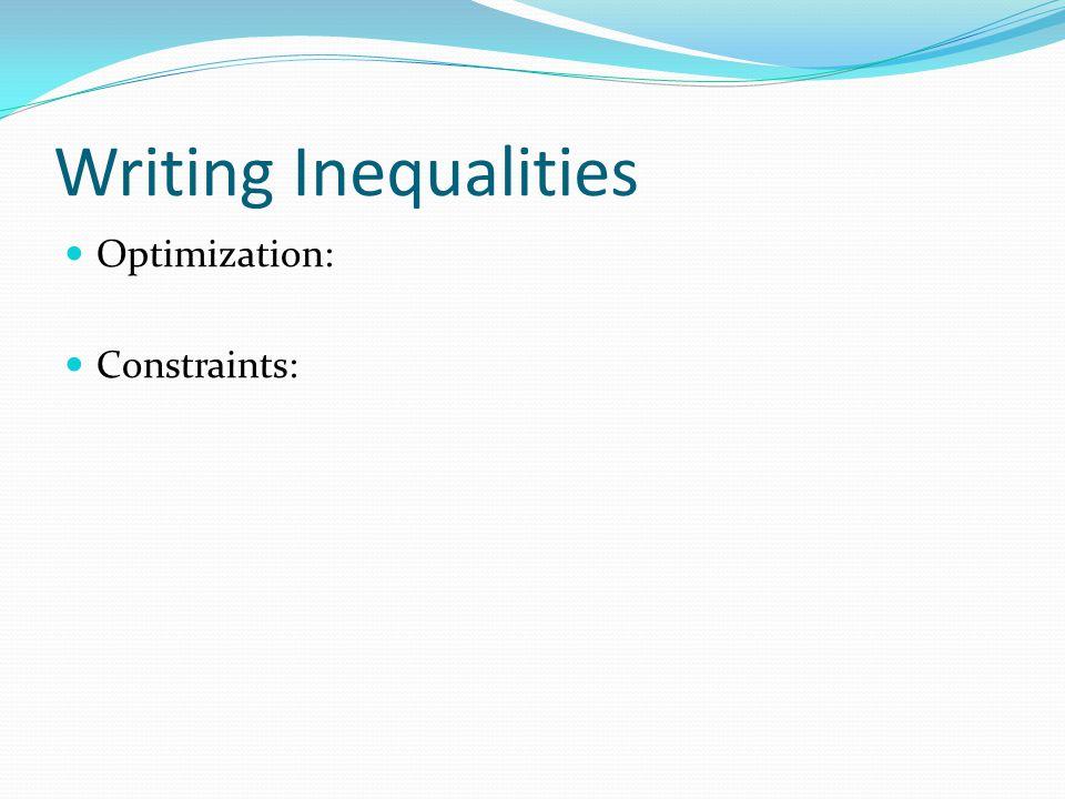 Writing Inequalities Optimization: Constraints: