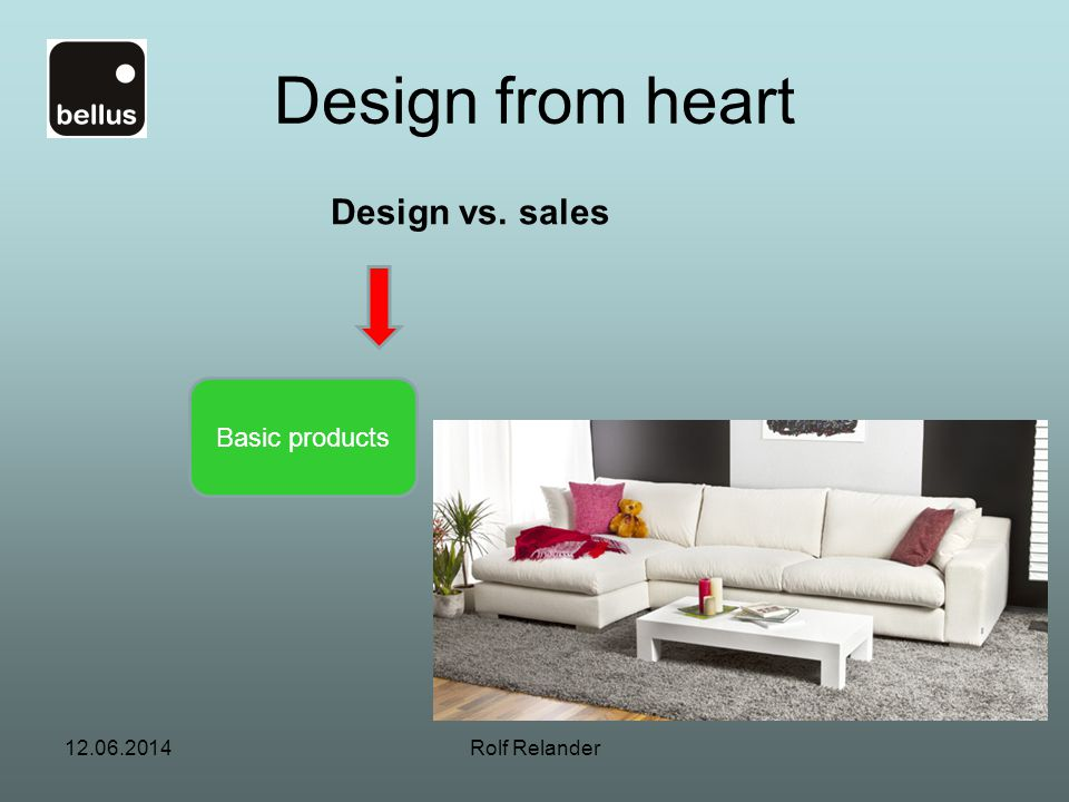 Design from heart Design vs. sales Basic products