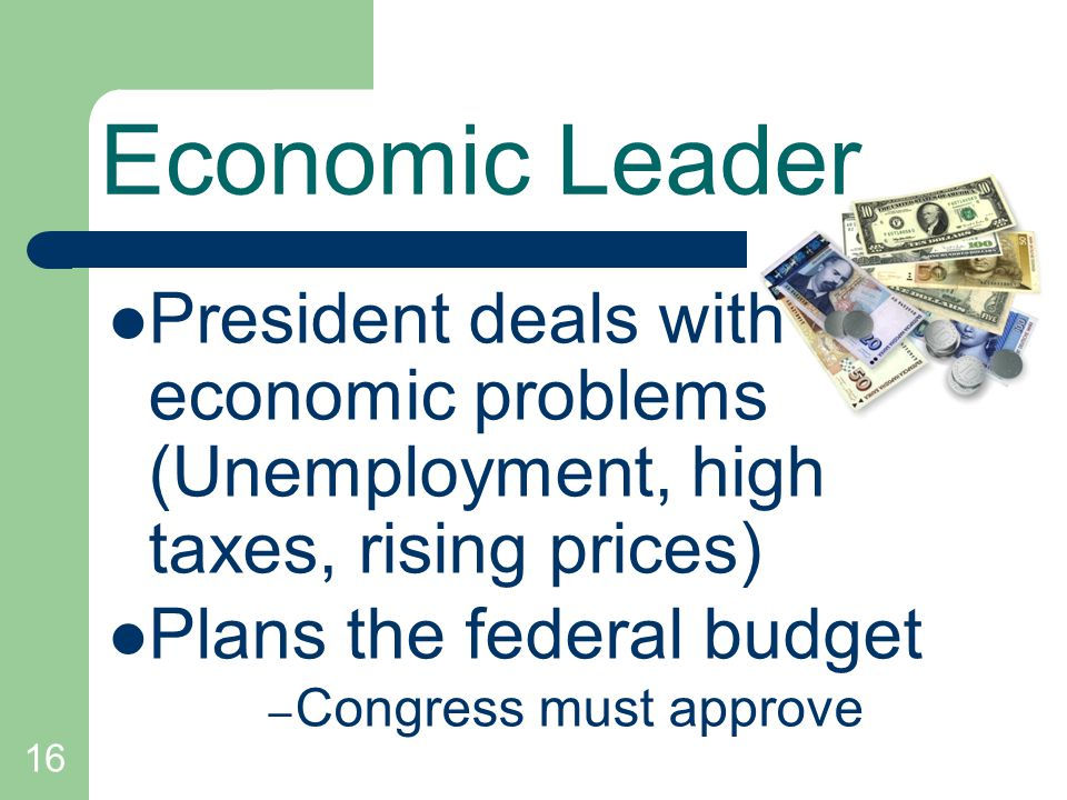 Economic Leader President deals with economic problems (Unemployment, high taxes, rising prices)