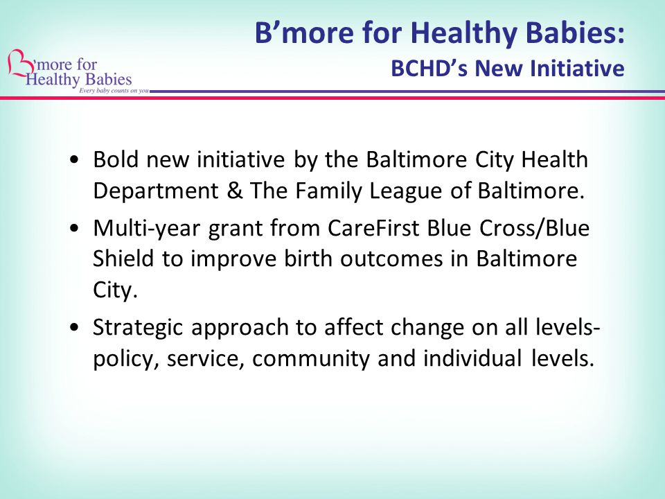 B'more for Healthy Babies: BCHD's New Initiative